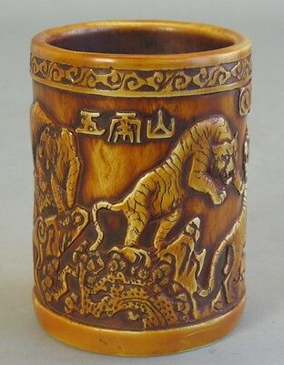 Antique Chinese Carved Horn Brush Pot w/ Tigers c. 1930  Asian Lion Cat