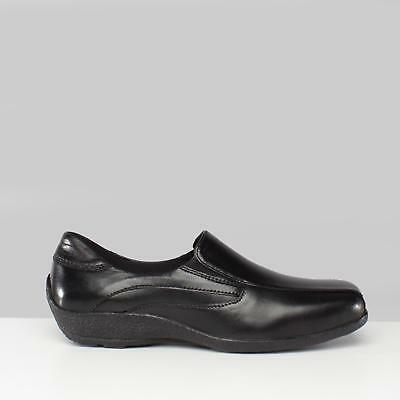 Mod Comfys Womens Ladies Leather Wedge Comfort Casual Work Loafers Shoes Black