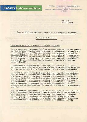 1963 Saab Press Release French  wi1837-8YZPXM