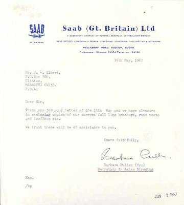 1967 Saab England Importer Letter  wi1855-Q6QSJT