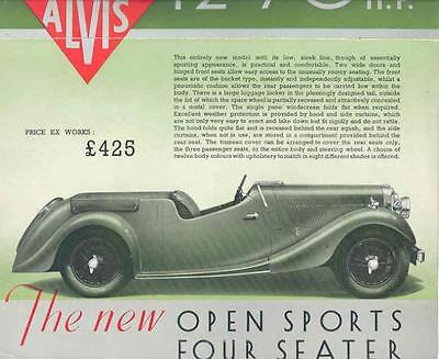 1938 1939 Alvis Type II 12-70 Open Sports Brochure wi6194-I1YT4D