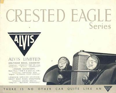 1938 Alvis Crested Eagle Saloon Sales Brochure wi6192-4KX9Q8