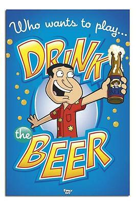 Family Guy Who Wants To Play Drink Beer Large Maxi Wall Poster New