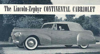 1940 Lincoln Continental Cabriolet Brochure  wh2313-3VMBGB