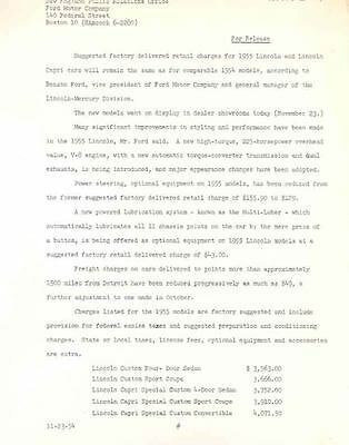 1955 Lincoln Prices Press Release  wh728-N6FK2L