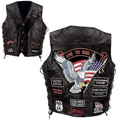 Men's Black Genuine Leather Motorcycle Vest w/14 Patches MC Biker