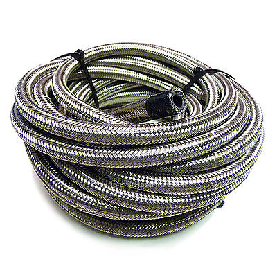 "AN -8 AN8 7/16"" 11MM Stainless Steel Braided RUBBER Fuel Oil Hose Pipe 1 Metre"