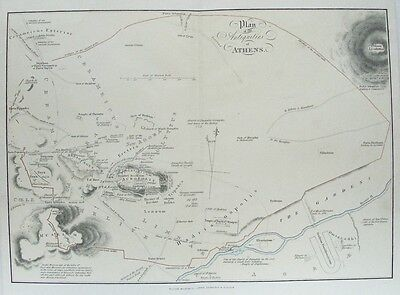 OLD ANTIQUE MAP ATHENS CITY PLAN GREECE c1880's ANTIQUITIES by MACKENZIE 19th C