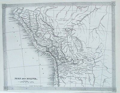 OLD ANTIQUE MAP PERU BOLIVIA SOUTH AMERICA c1836 by FINDLAY 19th C ENGRAVING
