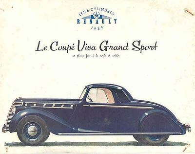 1939 Renault Grand Sport Coupe Sales Brochure wf5203-YMMX5M