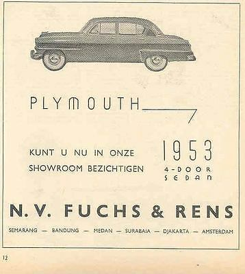 1953 Plymouth Magazine Ad Export Dutch wf9839-KMOJFF