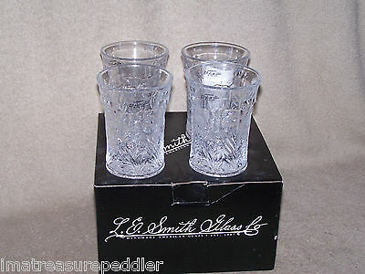 L E Smith Glass 4 New in Box Dogwood Tumblers - 1 or 2 sets available