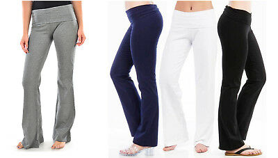 Quality Women Soft Yoga Fold Over Cotton Spandex Lounge Gym Athletic Sports Pant