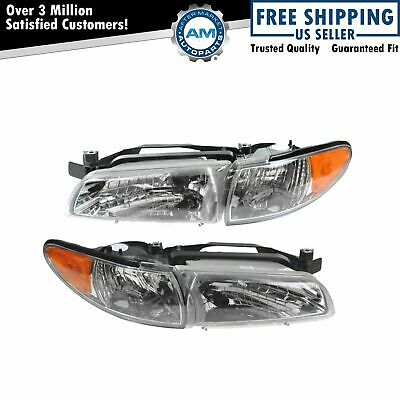 Headlights Headlamps Left & Right Pair Set NEW for 97-03 Pontiac Grand Prix