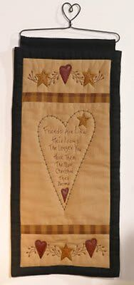 "STAR AND HEART COLLECTION QUILTED WALLHANGING WITH METAL HANGER 9 3/4"" w x 21"" h"
