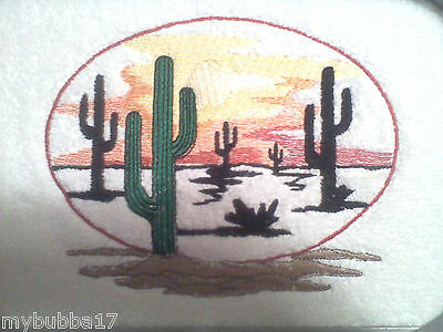 PAINT AND SOUTHWEST RIDER SET OF 2 BATH HAND TOWELS EMBROIDERED BY LAURA