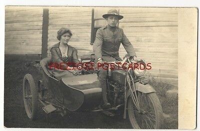 SOLDIER & SWEETIE on EXCELSIOR MOTORCYCLE & SIDECAR ca1908 RPPC Great!