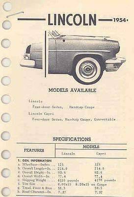 1954 Lincoln Specification Sheets wc5838-2WNHII
