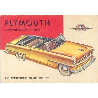 1953 Plymouth Cranbrook Convertible Gum Card mx895-C7WNSX