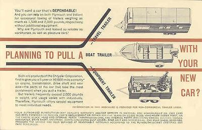 1963 Plymouth Trailer Towing Brochure mx939-DZVFME
