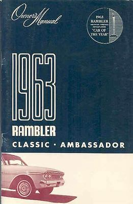 1963 Rambler Classic Ambassador Original Owner's Manual mx1149-L31IAO