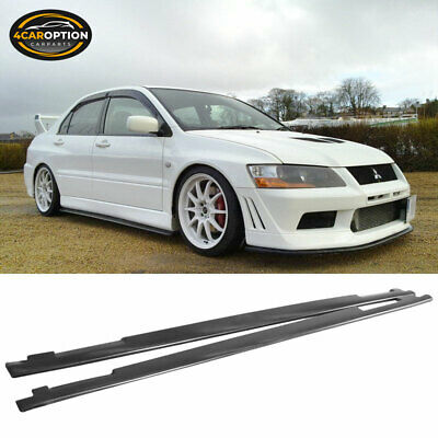 Fits For 01-07 Mitsubishi Lancer EVO 7 8 9 OE Style PU Side Skirt Extension Lip