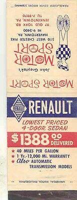 1955 ? Renault Matchbook Cover Jenkintown Pennsylvania wa3217-XJXZCB