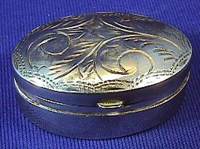 Hand Etched Beautiful Tiny Antique .925 Sterling Silver Snuff or Pill Box