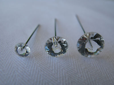 100 Diamante effect Pins Clear Diamonte Diamond Shape Head Silver Choose Size