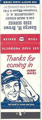 1930's 1940's Matchbook Cover Esso Gas & Oil mb1372-66UPV9