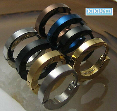 Mens Earrings 2.5mm SLIM Hoop steel gold black blue Boucles d'oreilles Orecchino