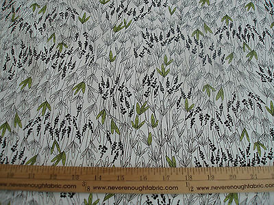 """#52 Cotton Blend Fabric Grass Weeds black green on white 58/60"""" wide BTY"""