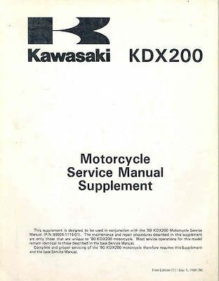 1990 Kawasaki KDX200 Motorcycle Original Shop Repair Manual mo509-CBLMMY