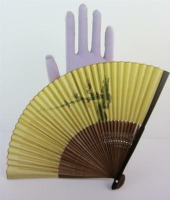 Asian Motif Vintage Folding Hand Fan Phillipines Decorative Wood Bamboo Exc