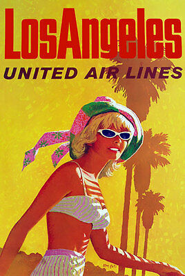 TX165 Vintage Los Angeles USA Airline Airways Travel Tourism Poster Re-Print A4