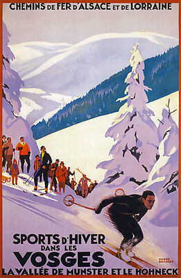 TX174 Vintage VOSGES French France Skiing Travel Tourism Poster Re-print A3