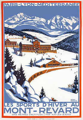 TX180 Vintage Mont-Revard Winter Sports French France Travel Poster Re-print A3