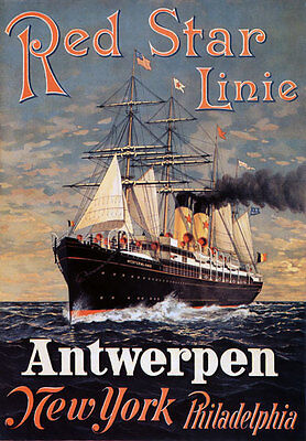 TX194 Vintage Red Star Line Antwerpen Cruise Liner Travel Poster Re-print A3