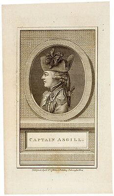 1786-Dated Engraved Portrait-British Army Captain