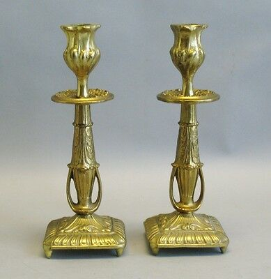 Superb Early American Cast Brass Gold Plated Candle Holders c. 1860