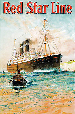 TX209 Vintage Red Star Line Cruise Ocean Liner Ship Travel Poster Re-print A3