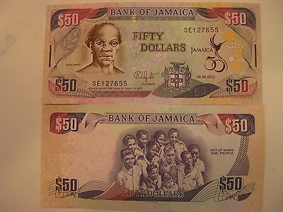 JAMAICA 2012 50 DOLLARS UNC BANKNOTE COMMEMORATIVE 50th ANNIVERSARY INDEPENCE !