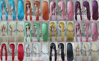 12 Colors New Fashion Anime Long Straight Women's Lady's Cosplay Full Wig Wigs