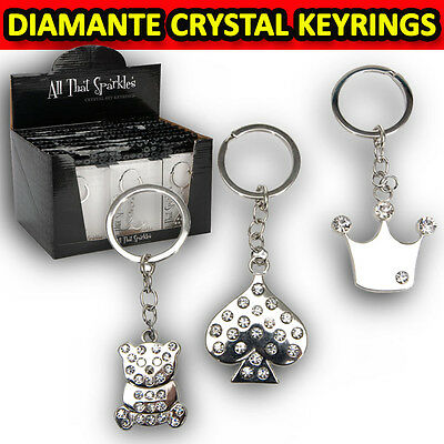 Sparkle Keyring Charms Diamante Metal Key Ring Charm Heart Teddy Bear Crown Gift