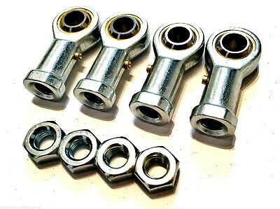 4 pack M10 FEMALE KART TRACK ROD ENDS - ROSE JOINTS + LOCKNUTS