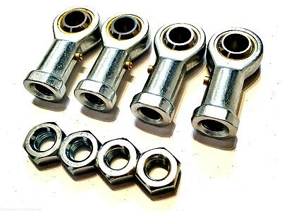 *4 pack M8 FEMALE KART TRACK ROD ENDS - ROSE JOINTS + LOCKNUTS