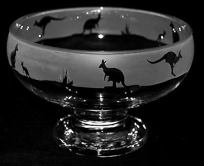 *KANGAROO GIFT*  Boxed GLASS FOOTED BOWL with KANGAROO & JOEY Frieze design