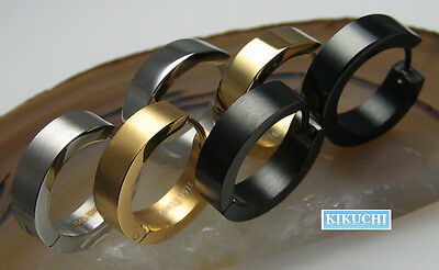 Mens Earrings Creole 18mm Ø Hoop silver gold black Boucles d'oreilles Orecchino