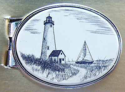 Money Clip Oval Barlow Scrimshaw Carved Painted Art Lighthouse Ship 539226