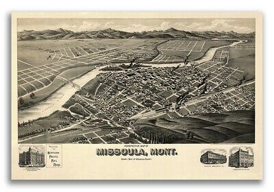 1891 Missoula Montana Vintage Old Panoramic City Map - 24x36